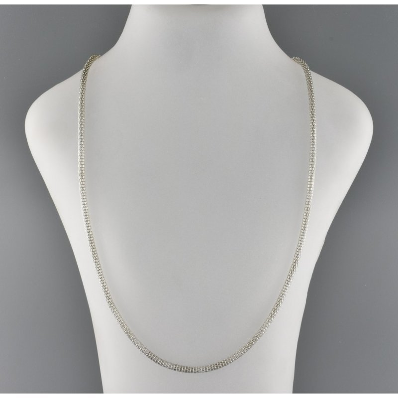 METAL CHAIN WITH BLACK SILICON ENDS - SILVER