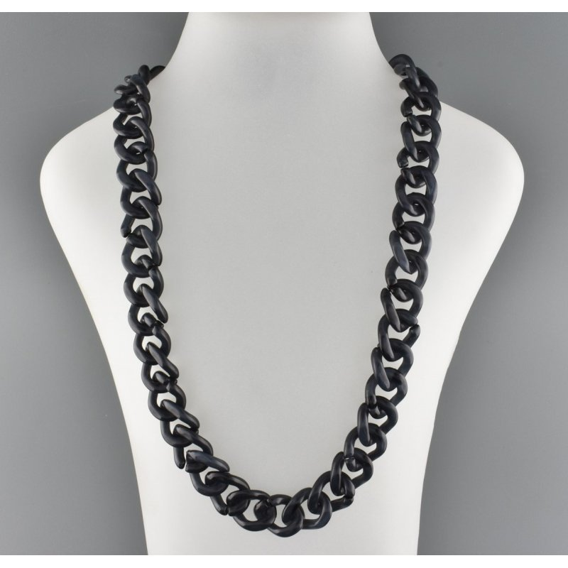 PLASTIC CHAIN WITH BLACK SILICON ENDS - BLACK - E005